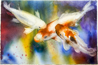 Debra's watercolor painting of koi