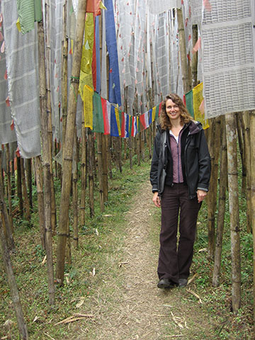 Debra amidst flags in India